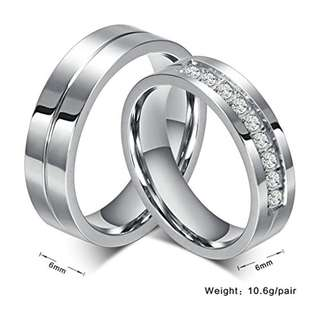 Personalized Engraved Stainless Steel CZ Diamond Couple Rings
