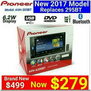 Brand New Car Stereo Pioneer 205BT Bluetooth/Led Touchscreen FVD/CD/USB/AM/FM Receiver.  Usual Price: $499.90 Special price: $279 (Brand new in box & sealed)  whatsapp 85992490 to pick up Today. 30 days one to one exchange Warranty