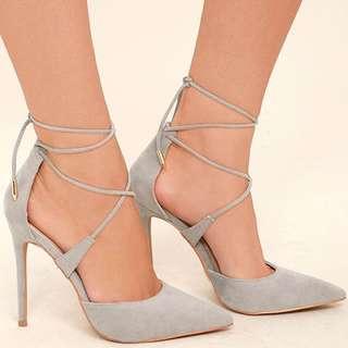 Grey Lace Up Stiletto Heels