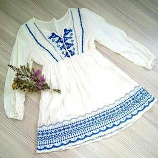 藍色刺繡小洋裝