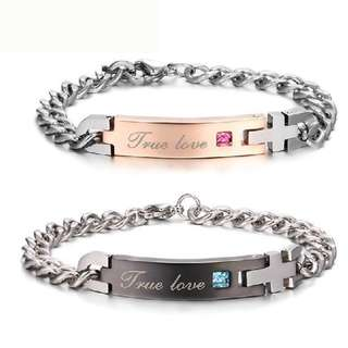 "Personalized Titanium Cross Engraved ""True Love"" Zircon Inlay Couple Bracelets"