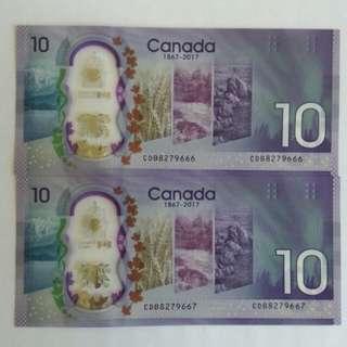 Canada $10 Commemorative banknotes - 2 runs