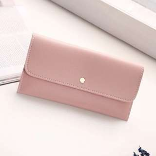 bn dusty pink minimalistic slim long wallet