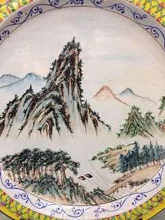 景泰藍山水盘D25cm