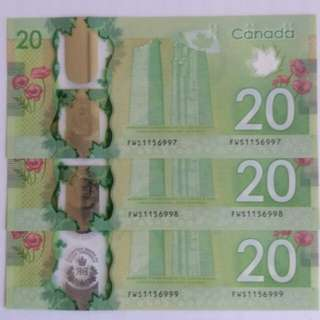 Canada $20 commemorative banknotes - 3 runs