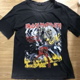 Bershka iron maiden oversized ulzzang band tee