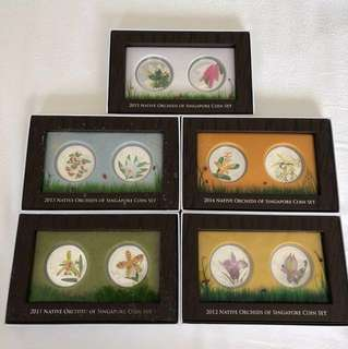 2011 - 2015 Native Orchids of Singapore Coin Sets