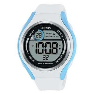 Lorus R2387LX9 Digital Sports Girls White Blue Jam Tangan Cewek Putih Rubber