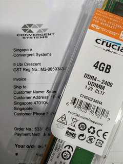 Crucial 4GB DDR4-2400MHz Desktop Memory Rams