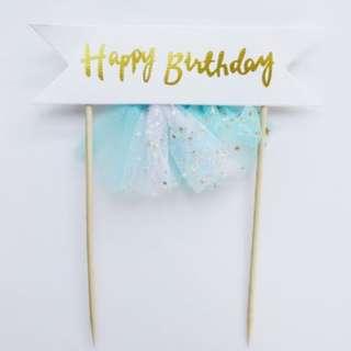 Happy Birthday Unicorn Banner Tutu Cake Topper – Blue