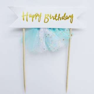 Happy Birthday Unicorn Banner Tutu Cake Topper – Blue