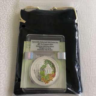 2016 Singapore Botanic Gardens UNESCO World Heritage Site 1 Troy oz 999 Fine Silver Proof Colour Coin