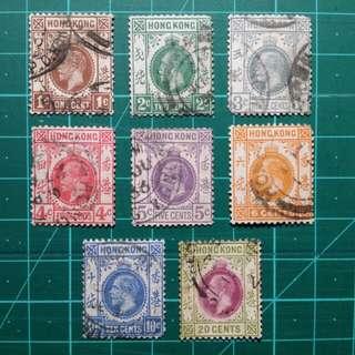 1912-21 喬治五世通用郵票 舊票八枚