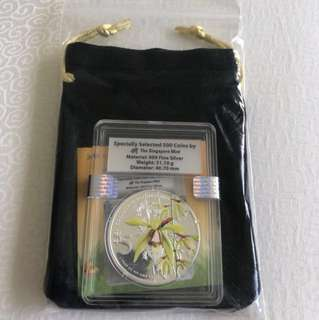 2014 Coelogyne Rochussenii 1 oz 999 Fine Silver Proof Colour Coin