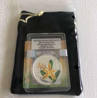 2014 Phalaenopsis Cornu-Cervi 1 oz 999 Fine Silver Proof Colour Coin