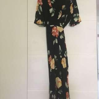 Vintage black floral wrap maxi dress