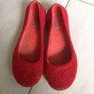 Red Shoes Velvet Bludru Anak