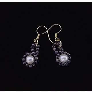 Swarovski element shinny smooth pearl earrings