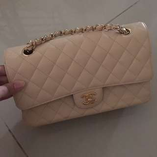 Chanel Medium Dounle Flap Beige GHW