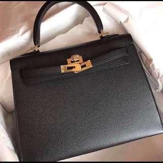 ✨全新 2018買入! 🦄Hermes✨🦅Kelly25 Noir 89 經典黑 Epsom Ghw金扣 Stamp C年 $135000