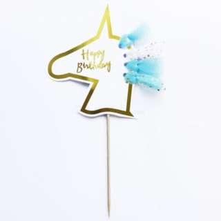 Happy Birthday Unicorn Head Tutu Cake Topper – Blue