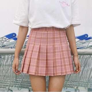 Pink Checkered Tennis Skirt