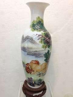 Porcelain-薄胎馬纹花并H18.5cm