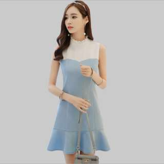 High waist ulzzang Sleeveless dress; formal work office; lady ladies girls woman women; kpop Korean trendy fashionable; elegant