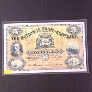 The national bank Scotland 1955 Five Pounds D536-490 Condition-GVF.
