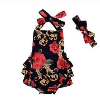 Beautiful Newborn Baby Girl Clothes Flower Backless Floral Print  Jumpsuit Bodysuit+Headband 2pcs Sunsuit Size 0-24M