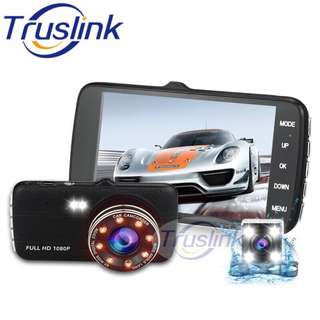DUAL LENS Full HD 1080P Car Video Recorder 4-Inch Display Camera With Night Vision --Black