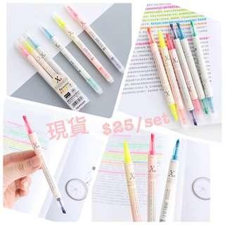 6色雙頭螢光筆