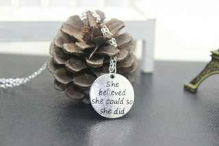 She Believed She Could So She Did Antique Silver Necklace