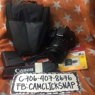 Canon 100d 18mp touch lcd with 18 55mm lens and accesories like new