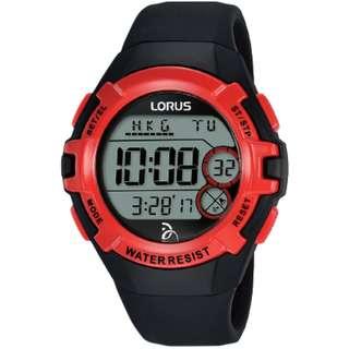 Lorus R2389LX9 Digital Sports Novak Djokovic Foundation Jam Rubber Black Red