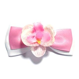 Handmade Korean Style Artificial Orchid Flower Fantasy Pink Hair Bow Clip Etc