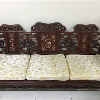 Rosewood 3+1 seater, coffee table n side table