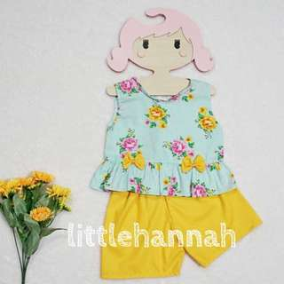 🍭Instock - Baby Toddler Girl Cotton Peplum Tops and Pants Set (1-3Y)