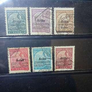 [lapyip1230] 澳門 1936年 航空加蓋票(全球唯一防偽方法: 以不相關文字加蓋) 全套