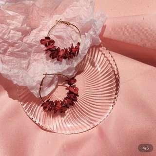 Floral Hoop Earrings (red)