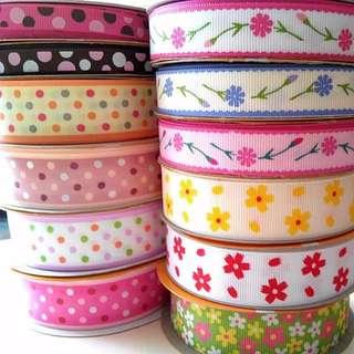 Printed Ribbon Flower Polka Dot DIY Gift Handmade Wrap Decoration