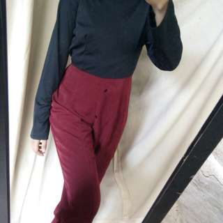 Jumpsuit x overall maroon black two tone