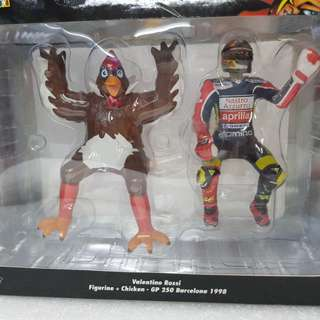 1/12 Valentino Rossi Figurine+Chicken. GP 250 Barcelona 1998