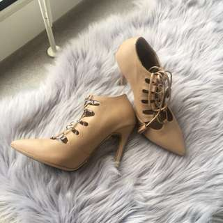 TONY BIANCO Nude Lace Up Heels