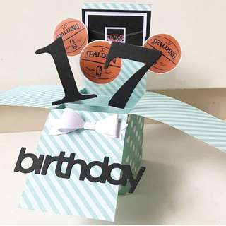 Happy 17 Birthday basketball theme pop up card