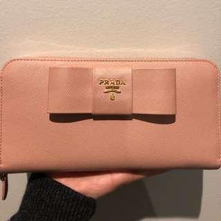 Prada Saffiano Ribbon Bow Zip wallet pink