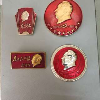 Vintage Mao Zedong Badges pinback Communist China Red