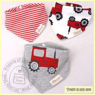 100% Cotton Mom's Care Baby Drool Bibs - Truck (3pcs Set)