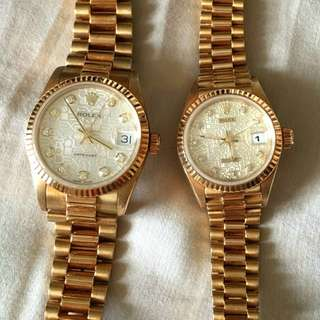 REAL GOLD & DIAMOND Rolex Couple Watch