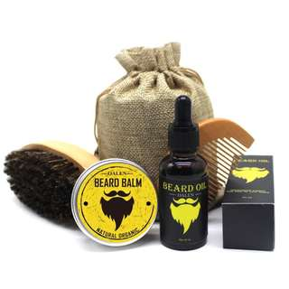 JANGGUT BUNDLE 3 (JAC Beard Kit 5pc) - Beard Oil, Comb, Brush, Balm & Bag